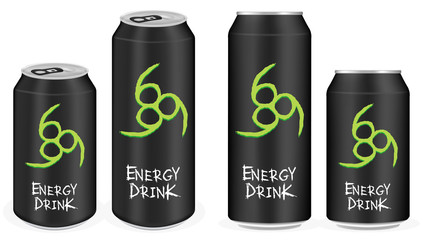 black aluminium energy drink cans vector