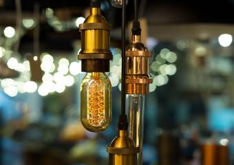 Beautiful Vintage style lamp decor glowing