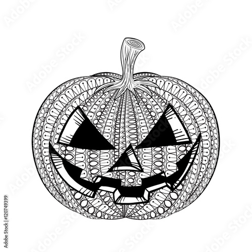 Vector Pumpkin IPumkin With Smile Hand Drawn In Zentangle Style Tribal Totem For Tattoo
