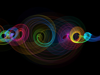 glowing rainbow curved lines and circles over dark Abstract Background