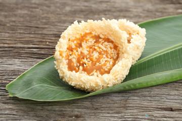 Rice crust, Thai Sweet Crispy Rice Cracker with Cane Sugar Drizz