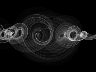 abstract white smoke over black background with copyspace
