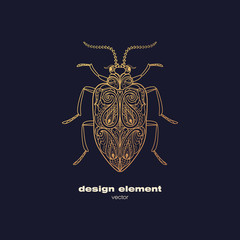 Vector decorative image insect beetle.