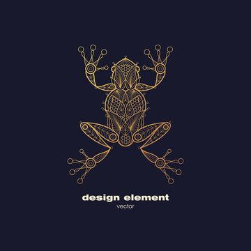 Vector ornamental frog image.