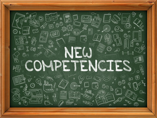 New Competencies - Hand Drawn on Green Chalkboard.