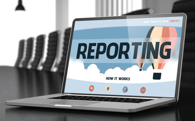 Landing Page of Laptop with Reporting Concept. 3D. - fototapety na wymiar