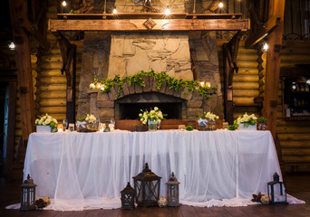 Served banquet tables in rustic style