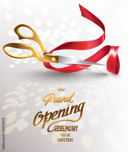 Grand Opening Invitation Card With Piece Of Cut Red Ribbon