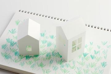 ペーパークラフトの家とイラストの芝生