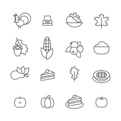 Set of abstract thanksgiving day icon. holiday symbols