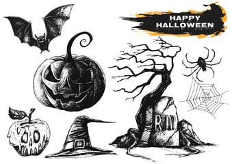 Hand drawn halloween set