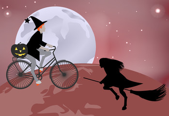 Vector illustration of a witch goes over the globe on a bicycle, and a witch flying over the globe on a broomstick in celebration of Halloween