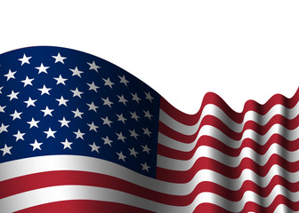 American flag, for 4th July, Independence Day celebration, Presidential Election, vote. Patriotic realistic graphics. National design. Symbol the United State of America. Vector illustration