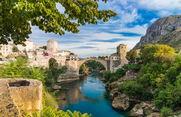 Beautiful landscape of the historic town of Mostar, valley of the Neretva River