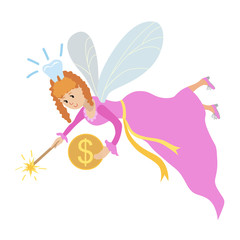 Tooth fairy with a magic wand and coin