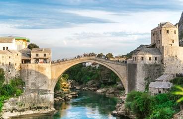 Old bridge over Neretva river in sunset, Mostar, Bosnia and Herzegovina