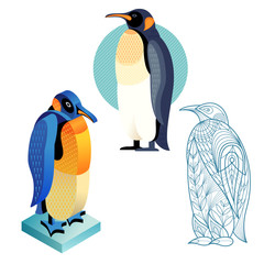 Set penguin image in different styles.