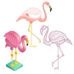 Set Image of flamingos in variety styles.