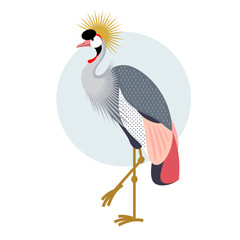 Flat icon - Crowned Crane.