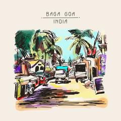 original digital drawing of India Goa Calangute Baga landscape s