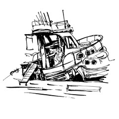 black and white ink sketch drawing of boat in marine