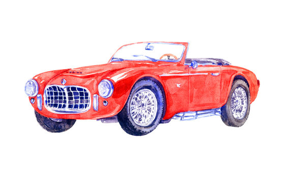 Hand Painted Watercolor Illustration Isolated Red retro sport car