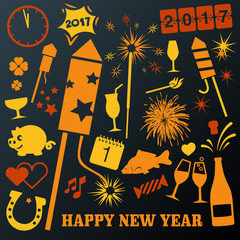 vector set of different New Year graphics