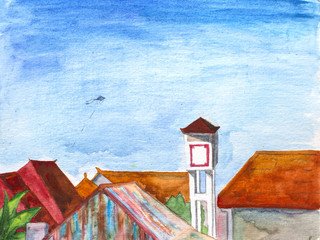 Watercolor landscape - Bali island roof view with water tank and flying kite