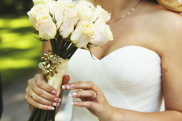 Bride with bouquet of flowers