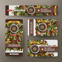 Corporate Identity set with doodles hand drawn Coffee theme