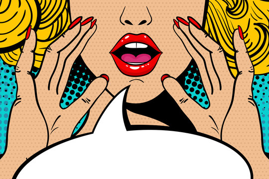 Sexy surprised blonde pop art woman with open mouth and rising hands screaming announcement. Vector background in comic retro pop art style. Party invitation.