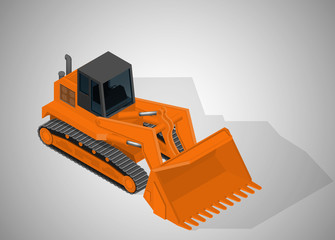 Vector isometric illustration of a mining tracked excavator. Equipment for high-mining industry.