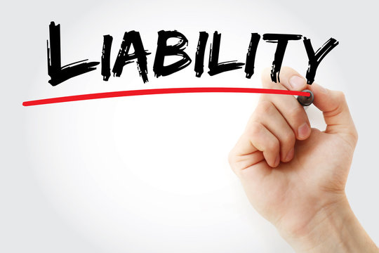 Hand writing Liability with marker, concept background