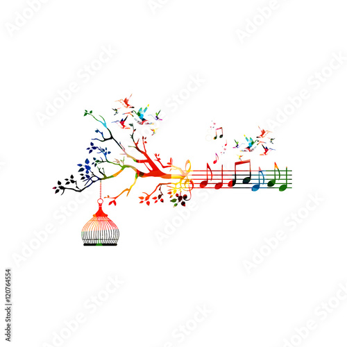 Creative Music Style Template Vector Illustration Colorful Staff With Notes Background Inspirational Notation