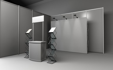Trade exhibition stand, Exhibition round, 3D rendering visualiza