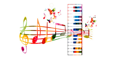 Creative music style template vector illustration, colorful piano keys with music staff and notes, music instruments background. Design for poster, brochure, banner, concert, festival and music shop