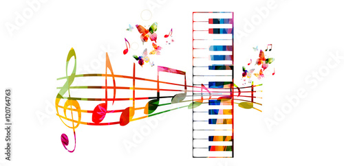 Creative Music Style Template Vector Illustration Colorful Piano Keys With Staff And Notes