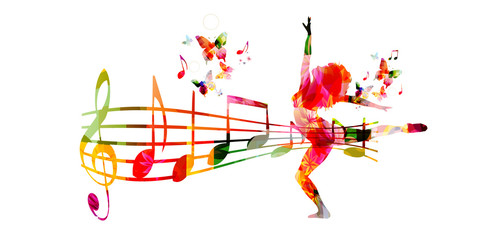 Creative music style template vector illustration, colorful music staff and notes with woman silhouette dancing, dancer performance background. Design for poster, brochure, banner, concert, festival