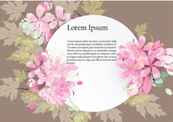 white paper cut circle for template  cover with pink flowers circle bouquet and green leave  on dark green  background,vector illustration