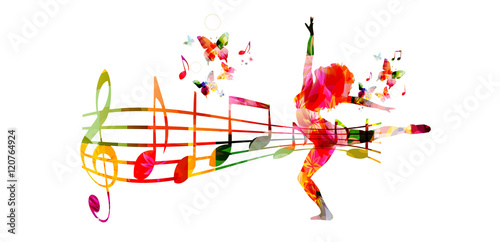 "Silhouette Dance Music Abstract Background: ""Creative Music Style Template Vector Illustration"