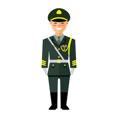 Vector Army of China. Flat style colorful Cartoon illustration.