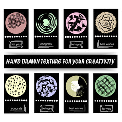 A set of universal artistic creative cards with hand-drawn textures. Design for a poster, postcards, invitations, brochures, posters, leaflets. Vector illustration. Isolated.