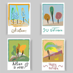 Hand drawn set of artistic creative autumn cards. Design for a poster, postcards, invitations, brochures, posters, leaflets. Vector templates.
