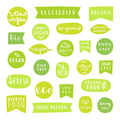 Big set of healthy food badges. Bio, organic, vegan fresh etc.