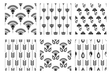 Set of seamless floral vector pattern. Symmetrcal black and white ornamental background with flowers and leaves. Decorative repeating ornament, Series of Floral and Decorative Seamless Pattern.