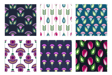 Set of seamless floral vector pattern. Symmetrcal colorful ornamental background with flowers and leaves. Decorative repeating ornament, Series of Floral and Decorative Seamless Pattern.