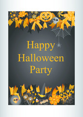 Halloween party design template decoration with pumpkin,spider,bat and candy