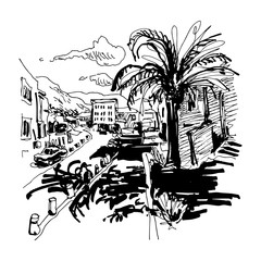 black and white sketch drawing of Petrovac Montenegro street wit