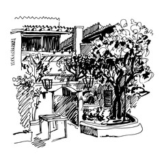black and white sketch drawing of Slovenska Plaza hotel street i