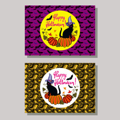 """Halloween greeting card with black cat in witch hat, pumpkin and hand drawn text """"Happy Halloween!"""" Vector clip art."""